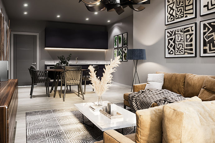 Image of lounge area at Apex Lofts